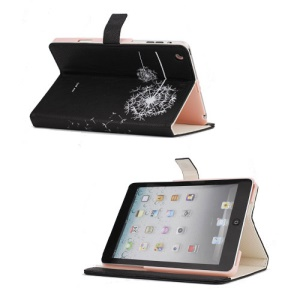 Elegant Dandelion Litchi Leather Stand Case Cover for iPad Mini - Black / White