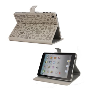 Cute Cartoon Graffiti Leather Stand Case for iPad Mini - Grey
