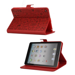Cute Cartoon Graffiti Leather Stand Case for iPad Mini - Red