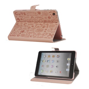 Cute Cartoon Graffiti Leather Stand Case for iPad Mini - Pink