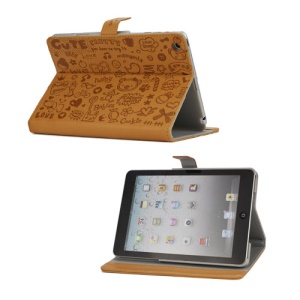 Cute Cartoon Graffiti Leather Stand Case for iPad Mini - Brown