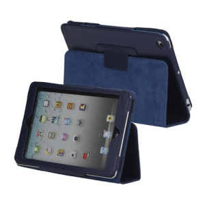 Lychee Skin PU Leather Stand Case Cover for iPad Mini - Dark Blue