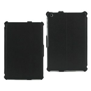 Textured Lychee Leather Folio Cover Case for iPad Mini - Black