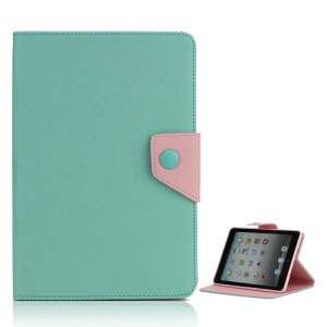 Magnetic Folio Textured Leather Stand Case Cover for iPad Mini - Cyan