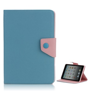 Magnetic Folio Textured Leather Stand Case Cover for iPad Mini - Baby Blue