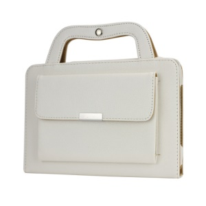 Novel STEREO Handbag Style Smart Leather Stand Cover for iPad Mini - White
