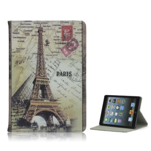 Europe Paris Eiffel Tower Print Retro Leather Back Cover Case Stand for iPad Mini