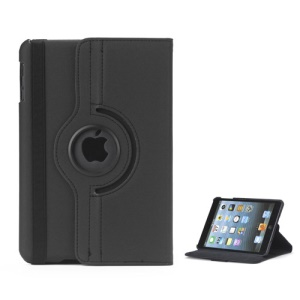 360 Degree Rotating Stand Fabric Folio Case for iPad Mini - Black