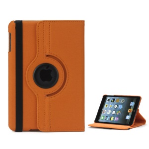 360 Degree Rotating Stand Fabric Folio Case for iPad Mini - Orange