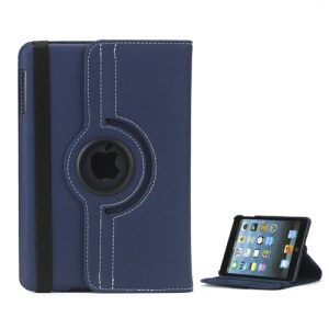360 Degree Rotating Stand Fabric Folio Case for iPad Mini - Dark Blue