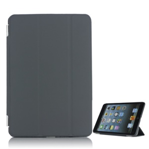 Tri-Fold PU Leather Cover With Stand Detachable Companion Case for iPad Mini - Dark Grey