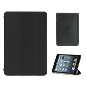 Tri-Fold PU Leather Cover and PC Hard Case for iPad Mini with Smart Function - Black