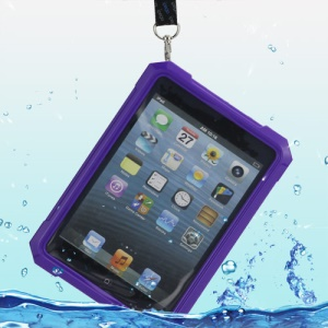 iPega Superb Protective Hard Waterproof Case for iPad Mini + Neck Strap - Purple