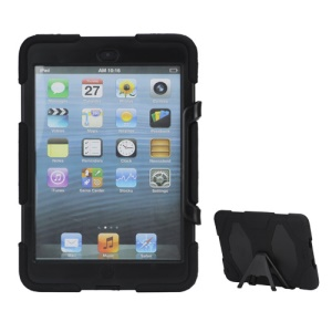 New Griffin Survivor Military Duty Silicone & PC Hard Case for iPad Mini with Stand & Screen Protector - Black