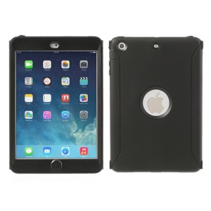 Hybrid Silicone and Hard Plastic Case Cover for iPad Mini with Screen Protector - Black