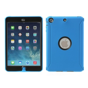 Hybrid Silicone and Hard Plastic Case Cover for iPad Mini with Screen Protector - Blue
