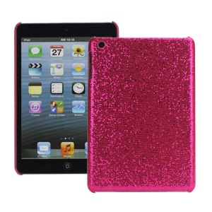 Shining Glitter Bling Powder Mesh Coated Hard Case Skin Cover for iPad Mini - Red