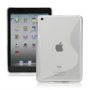 S Shaped TPU Gel Case Cover for iPad Mini - Transparent
