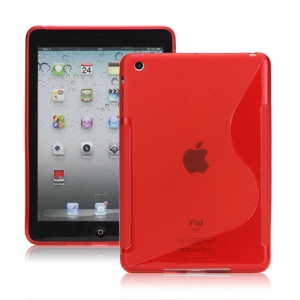 Streamline S Shaped TPU Gel Case Cover for iPad Mini - Red