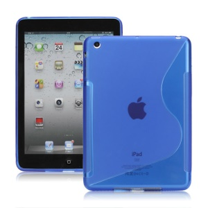 Streamline S Shaped TPU Gel Case Shell for iPad Mini - Blue