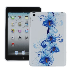 Artistic Blue Flowers Flexible TPU Gel Cover for iPad Mini