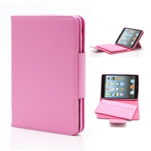 Detachable Leather Bluetooth Keyboard Case for iPad Mini - Pink
