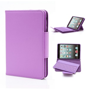 Detachable Leather Bluetooth Keyboard Case Cover for iPad Mini - Purple