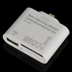 New 5 in 1 Camera Connection Kit USB TF SD Card Reader for iPad 4 / iPad Mini (Lightning 8-pin connector)