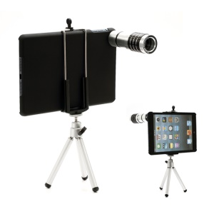 12X Zoom Telescope Telephoto Lens+ Tripod + Hard Case for iPad Mini
