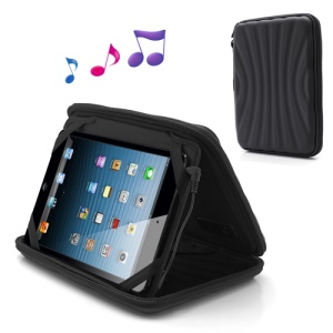 Strong Leather Case Bag with Speaker for iPad Mini / 7 Inch Tablet PC - Black