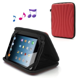 Protective Leather Case Bag with Speaker for iPad Mini / 7 Inch Tablet PC - Red