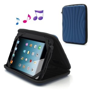 Strong Leather Case Cover Bag with Speaker for iPad Mini / 7 Inch Tablet PC - Blue