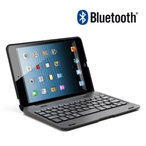 Foldable Plastic and Aluminum Bluetooth 3.0 Keyboard Case for iPad Mini - Black
