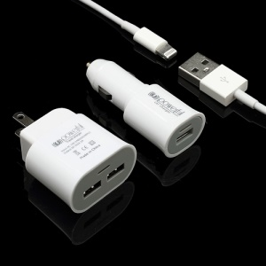 3 in 1 2-USB Port 1A AC Wall Adapter US Plug + Car Charger + Lightning USB Cable for iPhone 5 iPad Mini - White