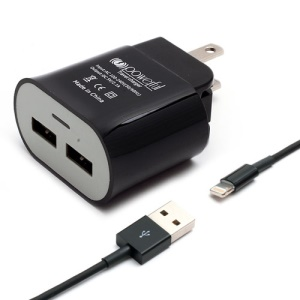 US Plug 5V 1A Dual USB Port AC Wall Charger w/ Lightning USB Cable for iPhone 5 iPad Mini iPod Touch 5 - Black