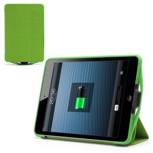 6500mAh Rechargeable External Backup Battery Charger Leather Case Stand for iPad Mini - Green