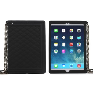 Black for iPad Mini / iPad Mini 2 Grid Pattern Silicone Cover w/ Chain