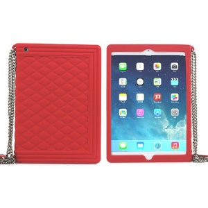 Red for iPad Mini / iPad Mini 2 Grid Pattern Silicone Cover w/ Chain