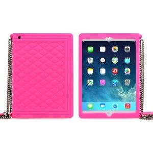 Rose for iPad Mini / iPad Mini 2 Grid Pattern Silicone Cover w/ Chain