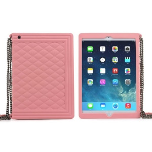 Pink for iPad Mini 2 / iPad Mini Grid Pattern Silicone Case w/ Chain