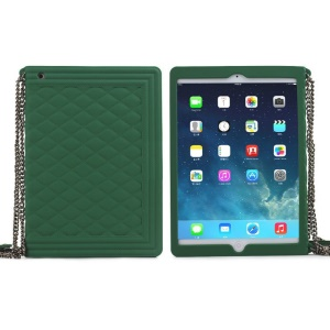Green for iPad Mini 2 / iPad Mini Grid Pattern Silicone Case w/ Chain