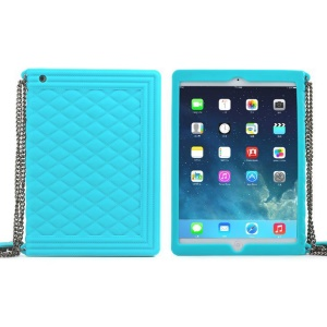 Baby Blue for iPad Mini 2 / iPad Mini Grid Pattern Silicone Shell w/ Chain