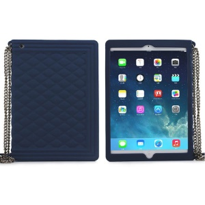 Dark Blue for iPad Mini 2 / iPad Mini Grid Pattern Silicone Shell w/ Chain