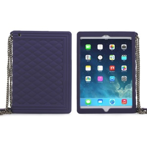 Purple for iPad Mini 2 / iPad Mini Grid Pattern Silicone Shell w/ Chain
