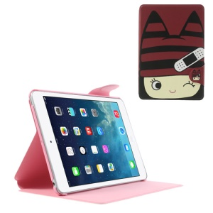 Cute Girl Wearing Red Hat Leather Smart Cover w/ Stand for iPad Mini / iPad Mini 2