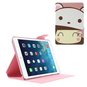 Cute Girl Wearing White Bear Hat Leather Smart Case w/ Stand for iPad Mini / iPad Mini 2