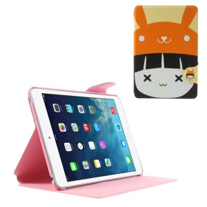 Cute Girl Wearing Orange Hat PU Leather Smart Case w/ Stand for iPad Mini / iPad Mini 2