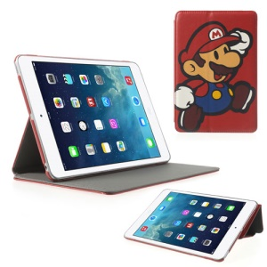 For iPad Mini 2 (Retina) / iPad Mini Mario Cross Grain Leather Case Shell Stand