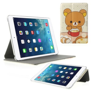 Rilakkuma Drinking Design for iPad Mini / iPad Mini 2 (Retina) Cross Leather Stand Cover