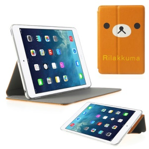 Cute Rilakkuma for iPad Mini / iPad Mini 2 (Retina) Cross Pattern Leather Stand Case